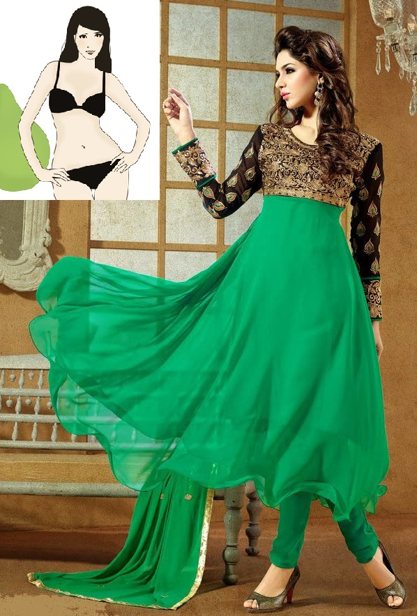 Buy Ladies Latest Fashion Frock Style Green Anarkali Suit