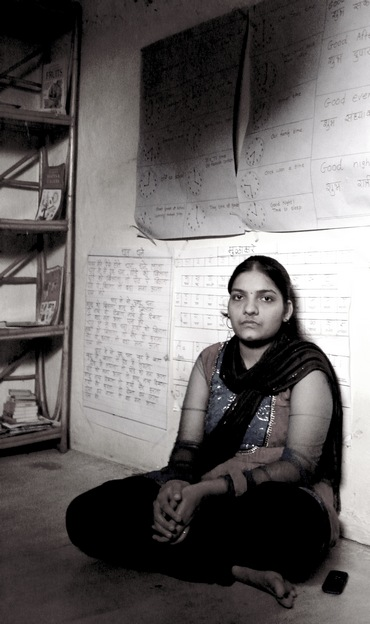 Aarti Naik in the 'classroom' over her 15x15 feet house