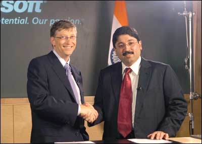 Microsoft Chairman Bill Gates and IT Minister Dayanidhi at the software giant's headquarters in Redmond, USA. Photograph: Microsoft