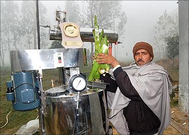 Dharamveer Kamboj with his machine.