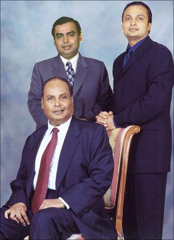 Dhirubhai Ambani with sons Mukesh (left) and Anil