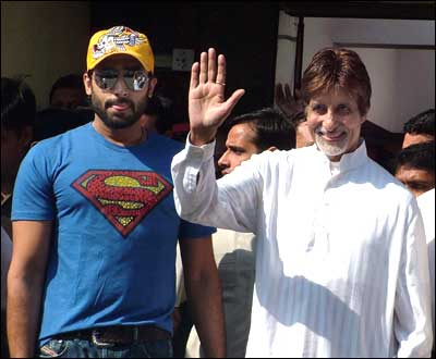 Image result for amitabh hospital abhishek superman