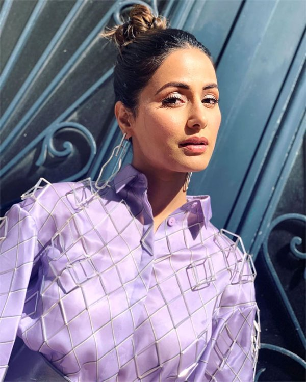 Hina Khan's lovely lavender look! - Rediff.com movies