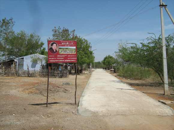 The road leading to the Dalit colony in Velayuthapuram