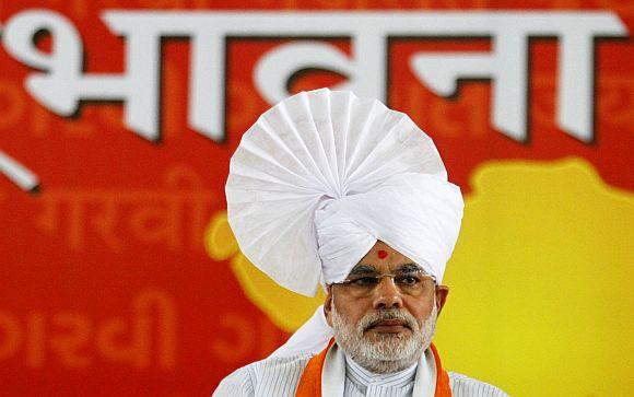 Narendra Modi during his Sadbhavna fast in Ahmedabad