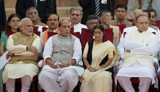 Prime Minister Narendra Modi, ministers Rajnath Singh, Sushma Swaraj, Arun Jaitley and others at the swearing-in ceremony of the NDA government.