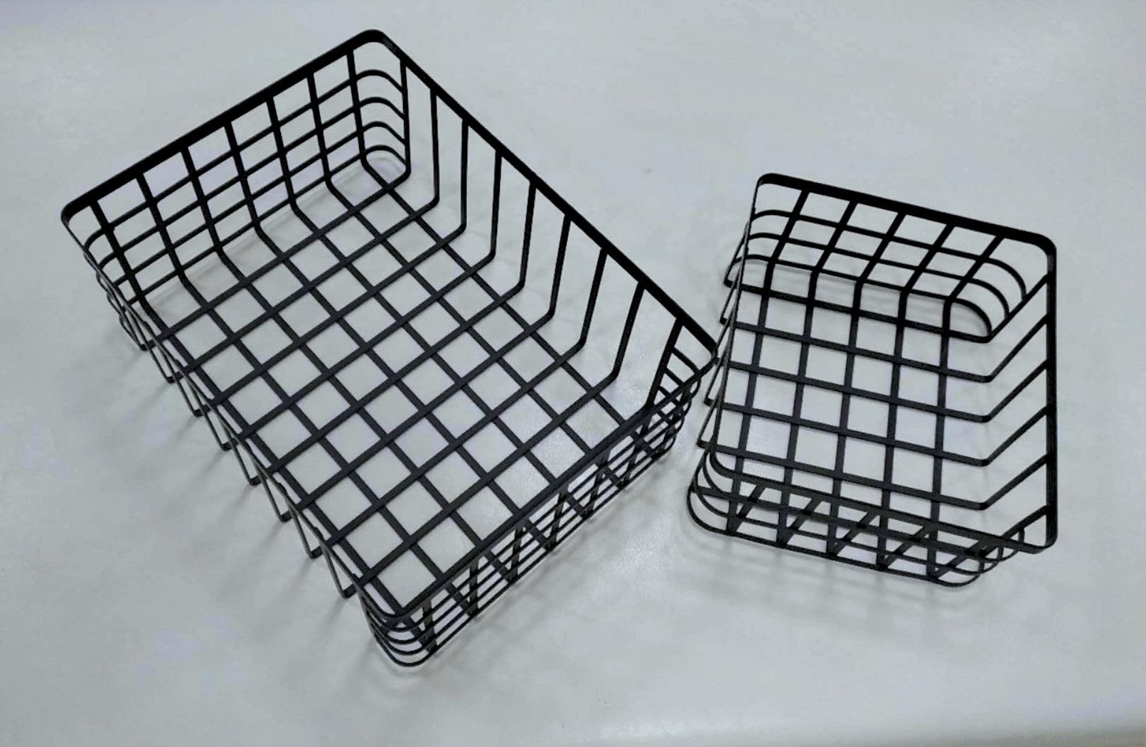 Industrial Black Storage Basket Wire Organizer Farmhouse