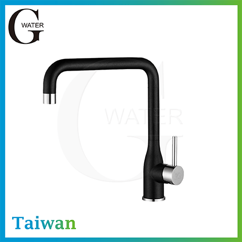 single lever black kitchen cold and hot