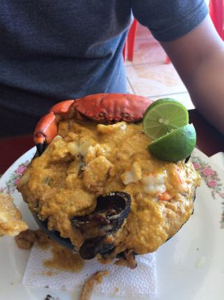 Check out this creation of crab and plantains! Yum!