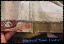 The fabric at the edge of the hem is wearing but the hem and seams are still strong.