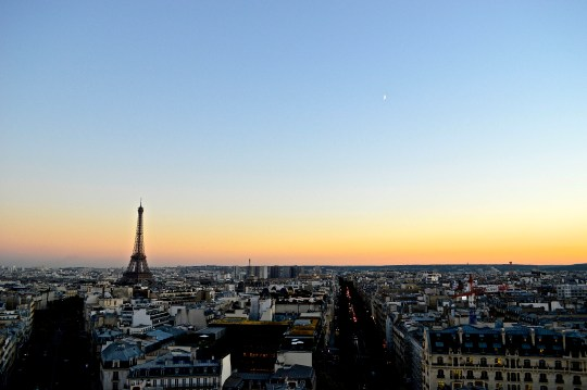 From the Arc de Triomphe 2016, dusk