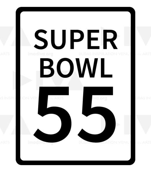 alternate 2021 Super Bowl 55 logo design: speed limit 55
