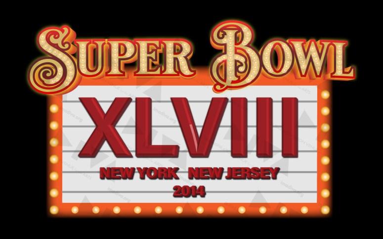 alternate 2014 Super Bowl 48 NY/NJ logo design: Broadway marquee