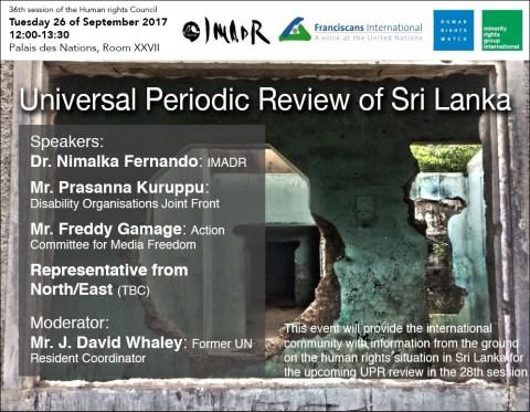 Invitation - HRC36 side event_UPR of Sri Lanka (12pm, 26 September 2017 @ Room XXVII)