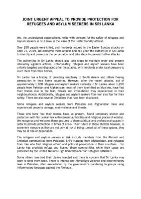 Joint_INGO_Refugee_protection_appeal_Srilanka