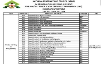 Full List Of NECO Time Table For June July Examinations