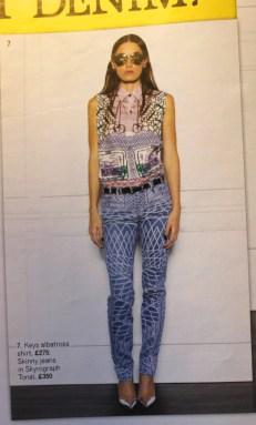 Current/Elliott Keys albatross shirt £275 Skyrograph Tonal jeans £350 Grazia Magazine