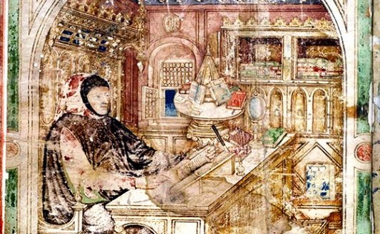 Detalle de miniatura medieval con un carrusel de libros.