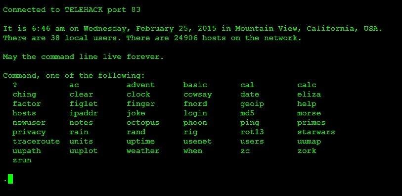 Los comandos disponibles en Telehack