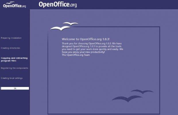 Pantalla de instalación de OpenOffice 1.0.3