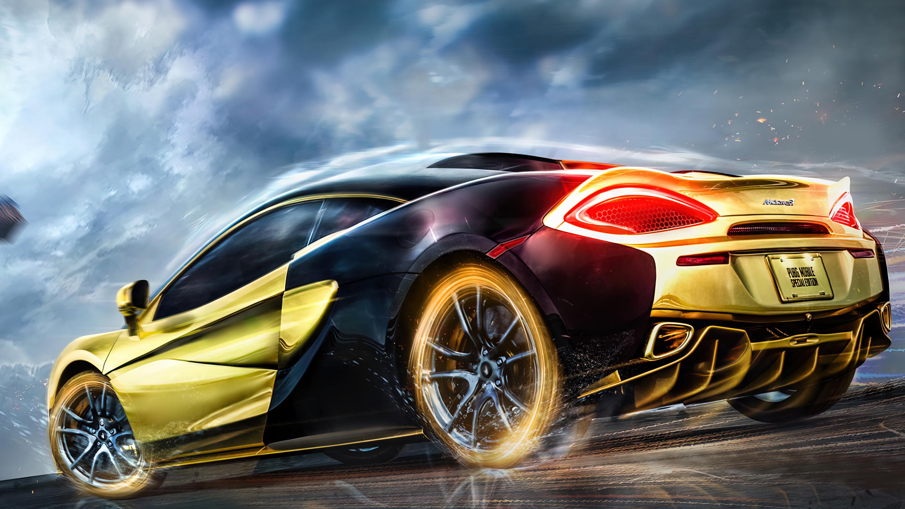 Lamborghini huracan sto edition front look 5k. Pubg Mobile Gold Mclaren Sports Car 4k Phone Iphone Wallpaper 7670a