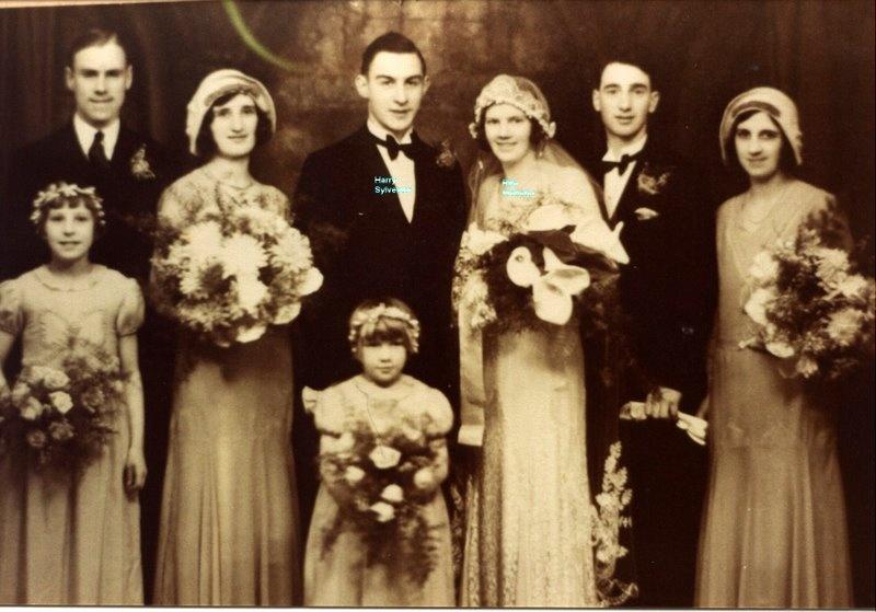 A sepia photograph of a wedding in 1932.