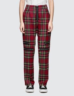 Danielle Guizio Plaid Zip Trousers
