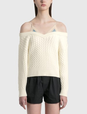 Alexander Wang.T Bi-layer V Neck Cable Pullover With Satin Camisole