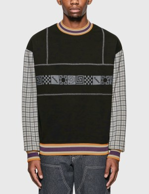 Rassvet Graphic Print Sweatshirt With Check Sleeves
