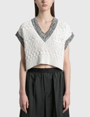We11done Lace Crop Knit V Neck Vest