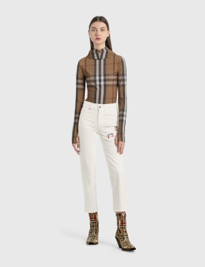 Burberry Straight Fit Montage Print Cropped Jeans