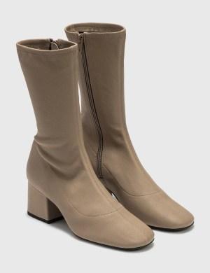 BY FAR Carlos 22 Khaki Stretch Leather Boots
