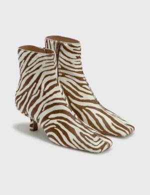 BY FAR Lange Zebrina Beige Leather Boots