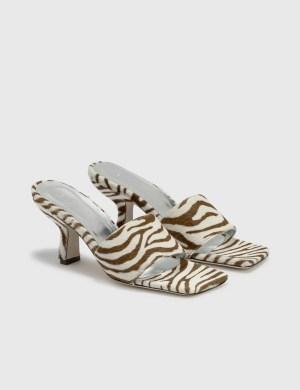 BY FAR Dylan Zebrina Beige Leather Sandals