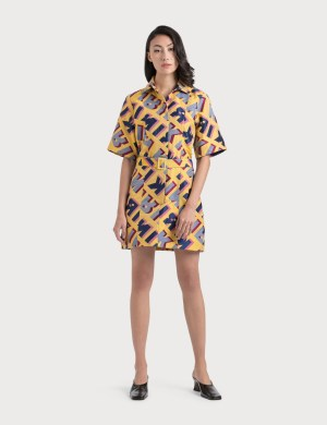 Kirin Typo Jacquard Shirt Dress