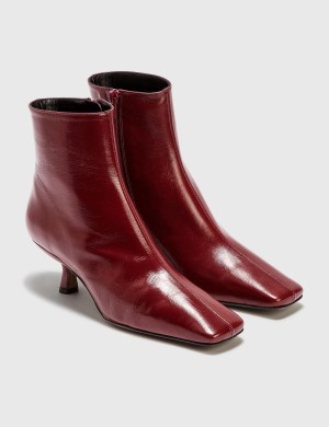 BY FAR Lange Bordeaux Creased Leather Boots