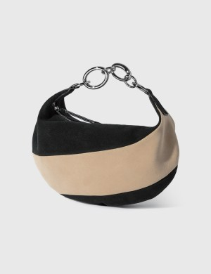 BY FAR Bougie Black And Oat Suede Leather Shoulder Bag