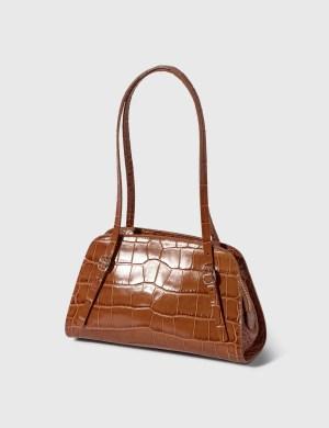 BY FAR Lora Tan Croco Embossed Leather Shoulder Bag