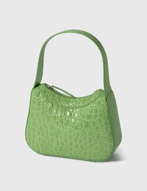 BY FAR Kiki Pistachio Circular Croco Embossed Leather Shoulder Bag