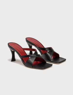 BY FAR Kitty Black Leather Sandals