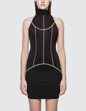 Kirin Piping Mock Neck Mini Dress