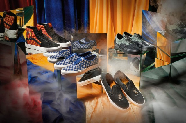 Harry Potter x Vans Sneaker Collaboration Revealed entire slip on sk8 hi authentic era Gryffindor hufflepuff ravenclaw slytherin colorways release date info buy drop Hogwarts School of Witchcraft and Wizardry official