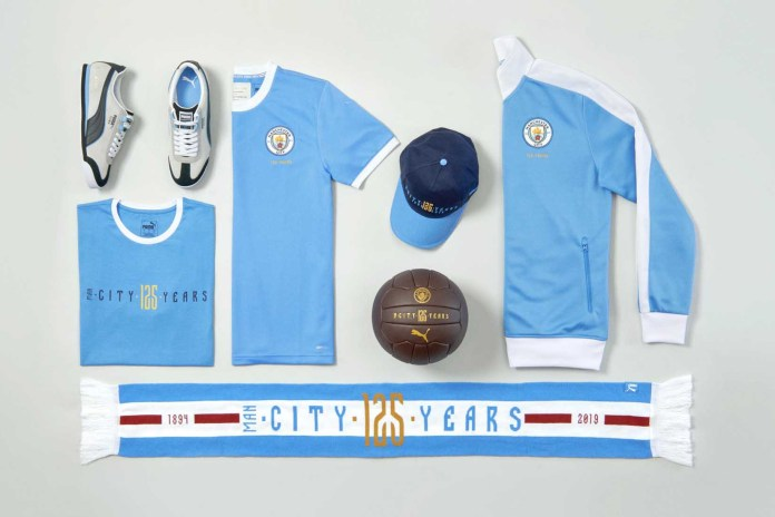 PUMA x Manchester City 125th Anniversary Capsule football soccer apparel collection scarfs track jacket