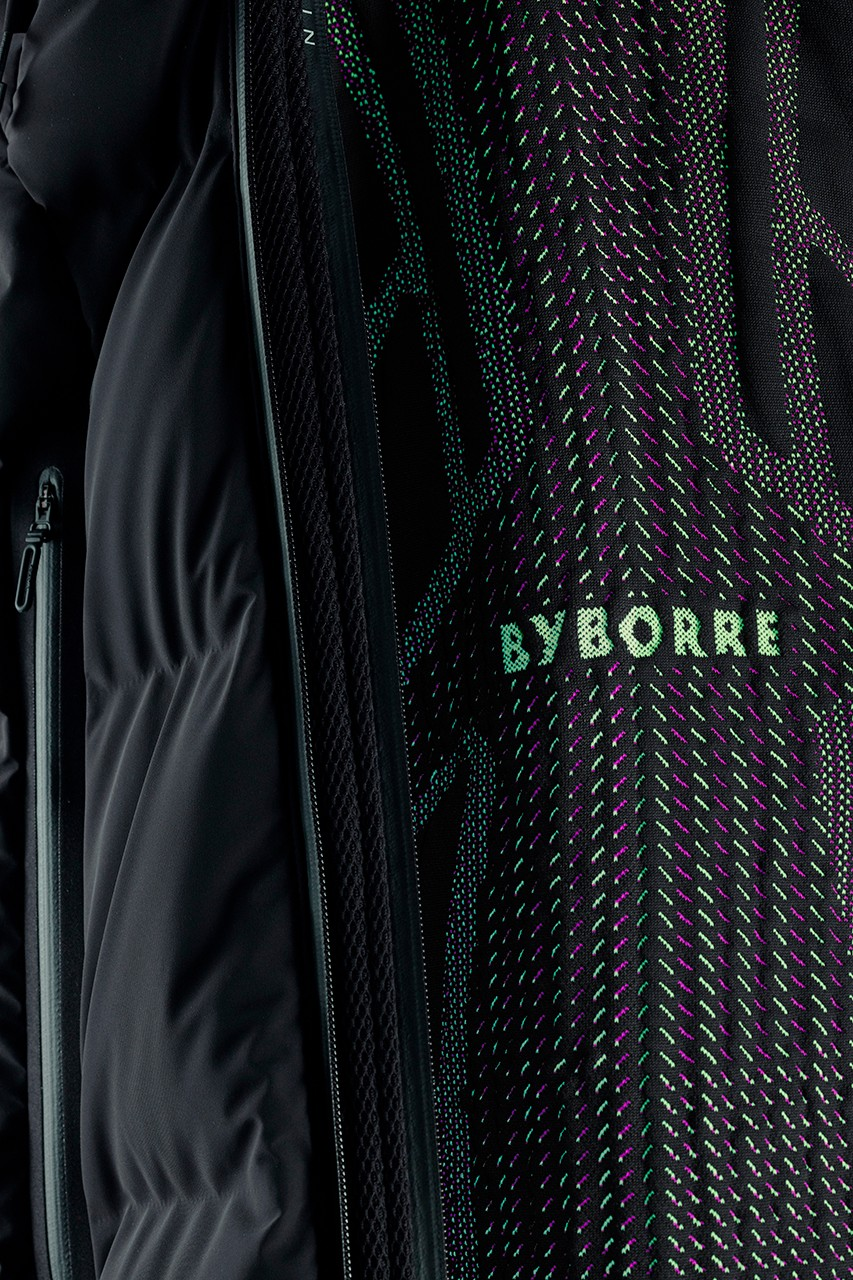 BYBORRE x DESCENTE ALLTERRAIN Mizusawa Down Mountaineer Jacket Limited Edition Collaboration Fall Winter 2019 FW19 On - Pattern 3D™ knit technologyDermizax® Flexile Matte 4 way Stretch