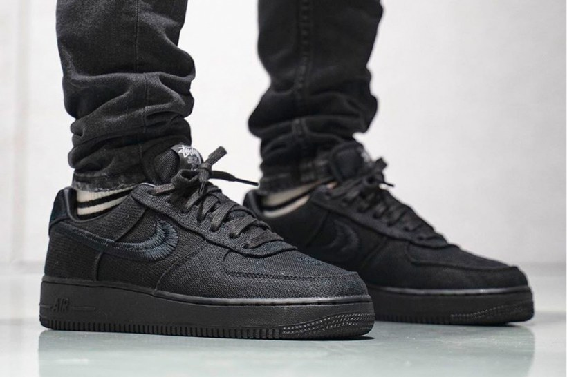 Stüssy Nike Air Force 1 Low Black Fossil Stone On Foot Closer Look Release Info CZ9084-001 CZ9084-200 Date Buy Price