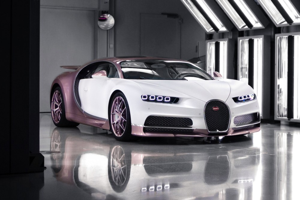 Bugatti Chiron Sport Matt Blanc and Silk Rosé alice Gris Rafale leather valentines day gift hypercars supercars racing Italian French H.R. Owen