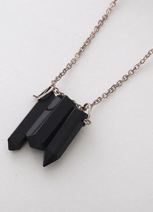 Цепочка подвеска черные камни геометрия в стиле панк ...
