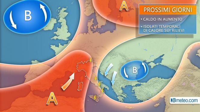 Anticiclone subtropicale in ulteriore rinforzo sul Mediterraneo centro-occidentale, molto caldo su gran parte d'Italia