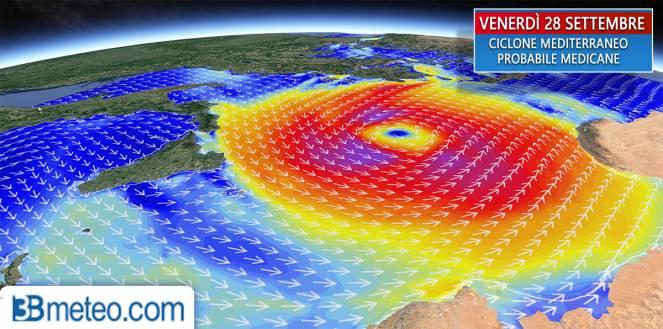 Ciclone mediterraneo/medicane in formazione sullo Ionio