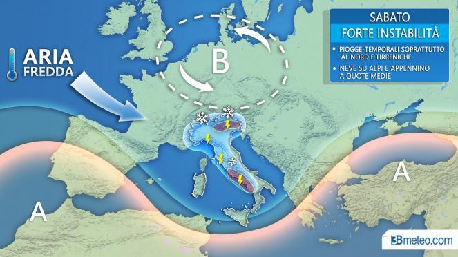 Maltempo sabato sull'Italia, rovesci e temporali anche intensi